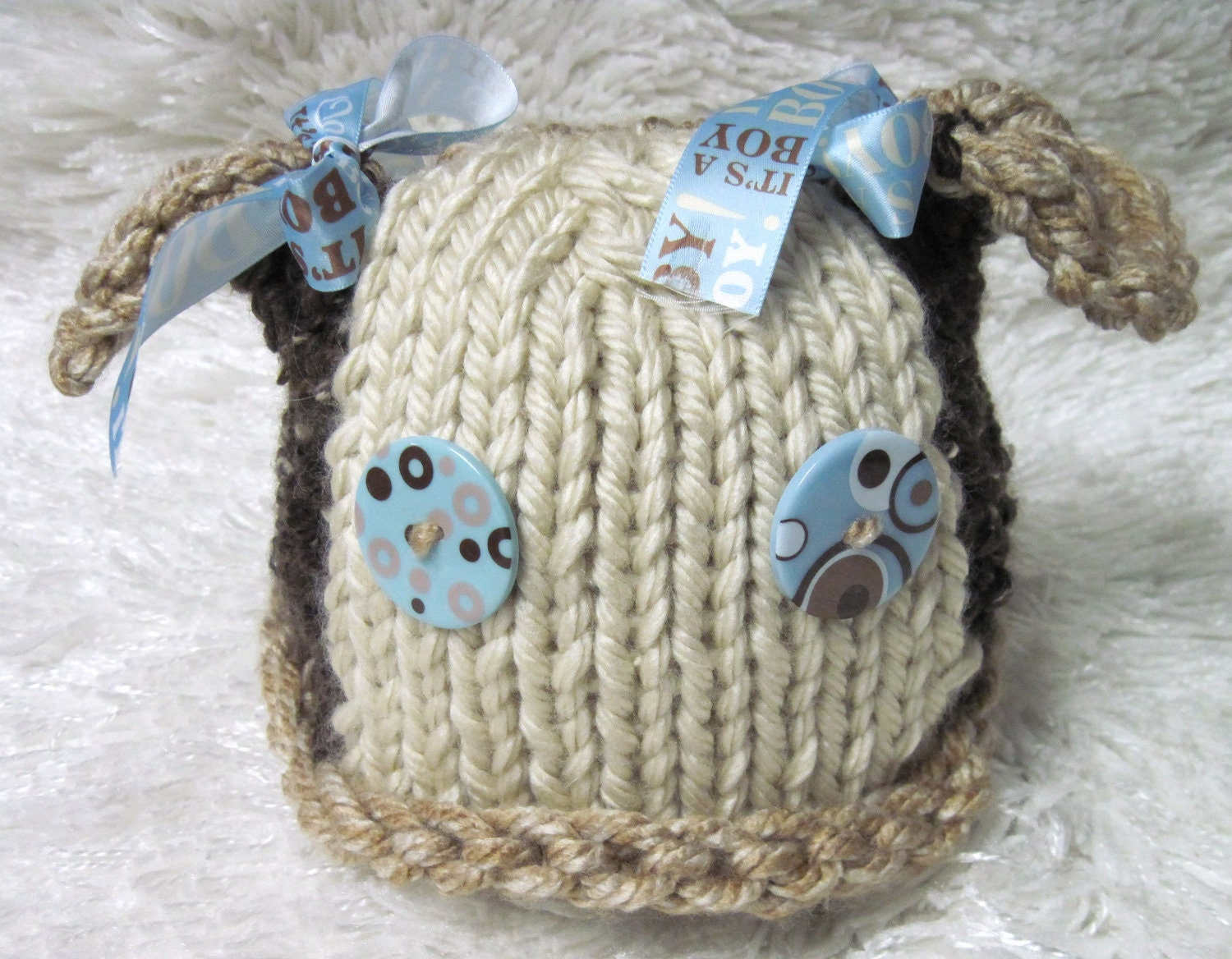 Knitting Pattern Hat Dog : Puppy Dog Hat and Coat Infant Knitted Pattern by LaurelArts