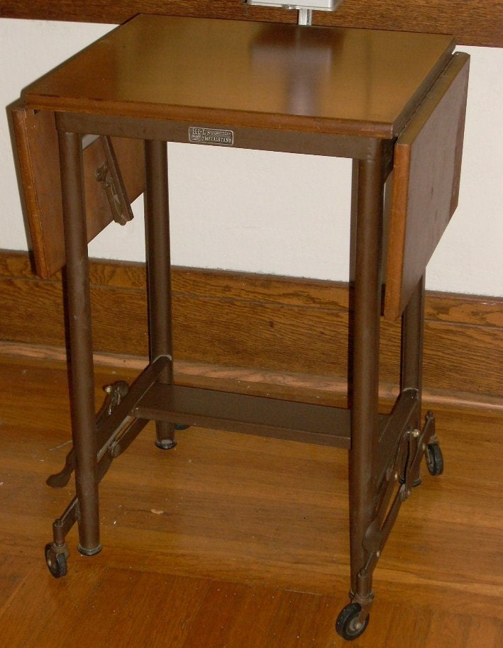 Industrial Metal With Wood Drop Leaf Typing By Diantiques