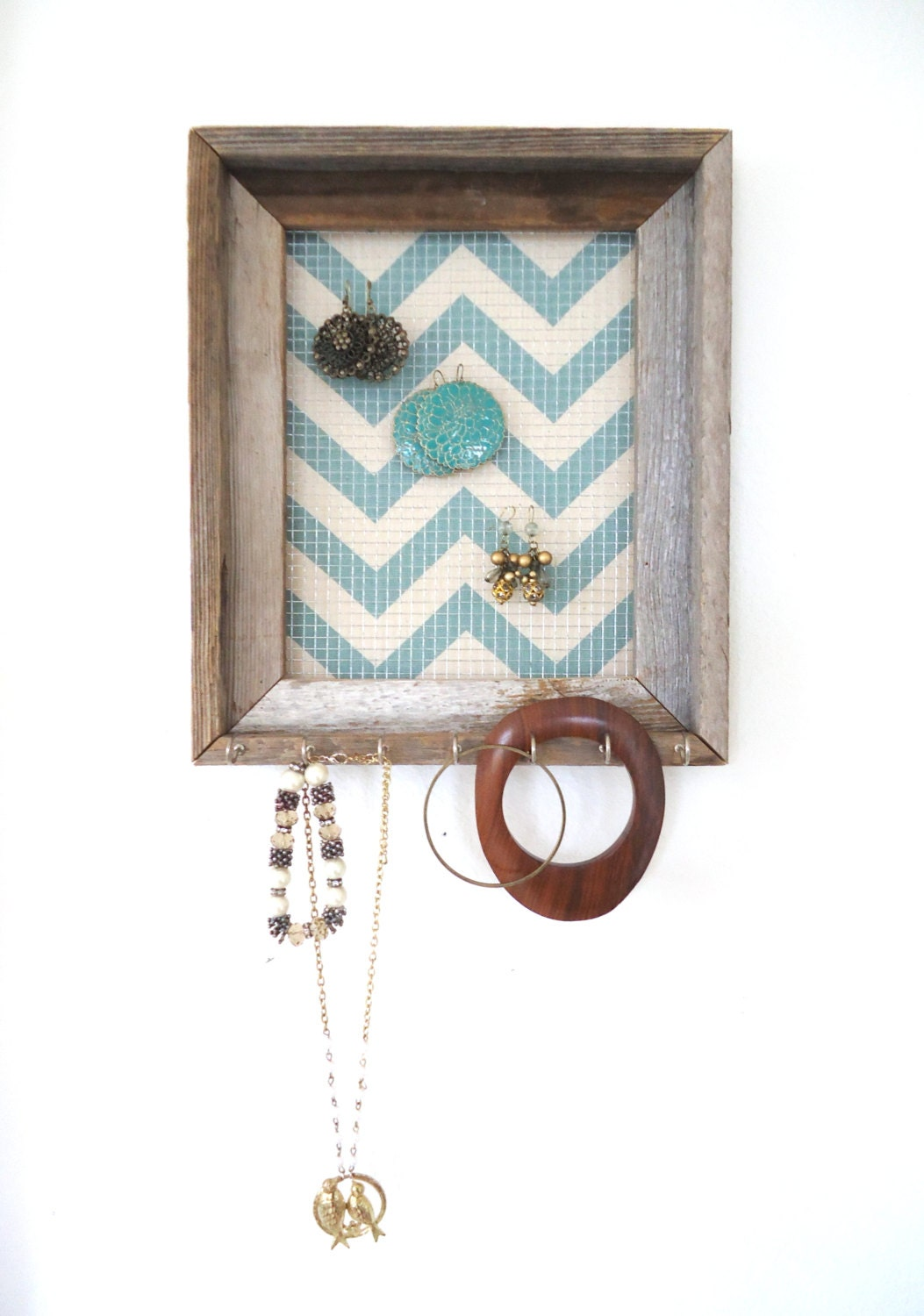 Jewelry Organizer Jewelry Holder  Barnwood Chevron Frame Display Silver Hooks