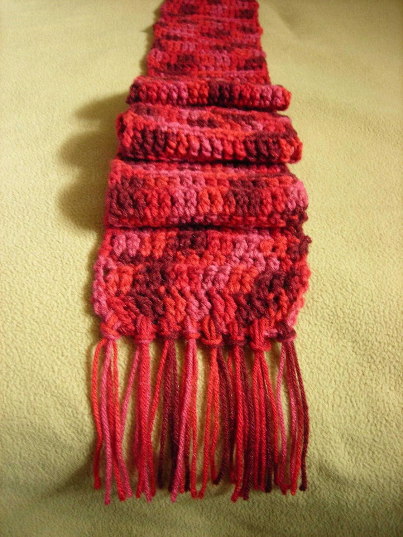 Crochet Scarf with Tassels Vegan by KneatKnitCreations on Etsy