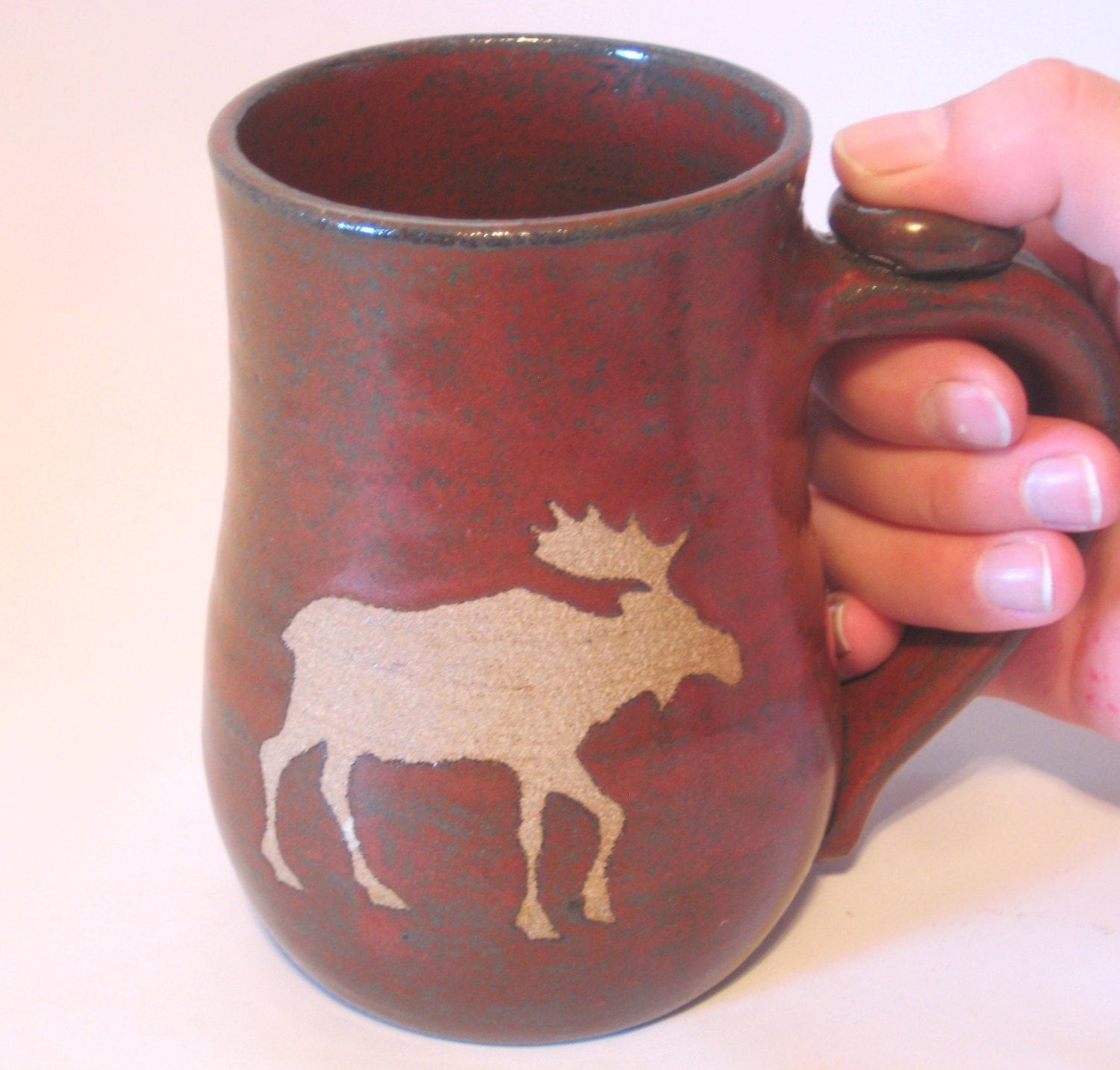 Moose Mug Coffee Tea Cup Brown Clay Wild Animal By Pottersong