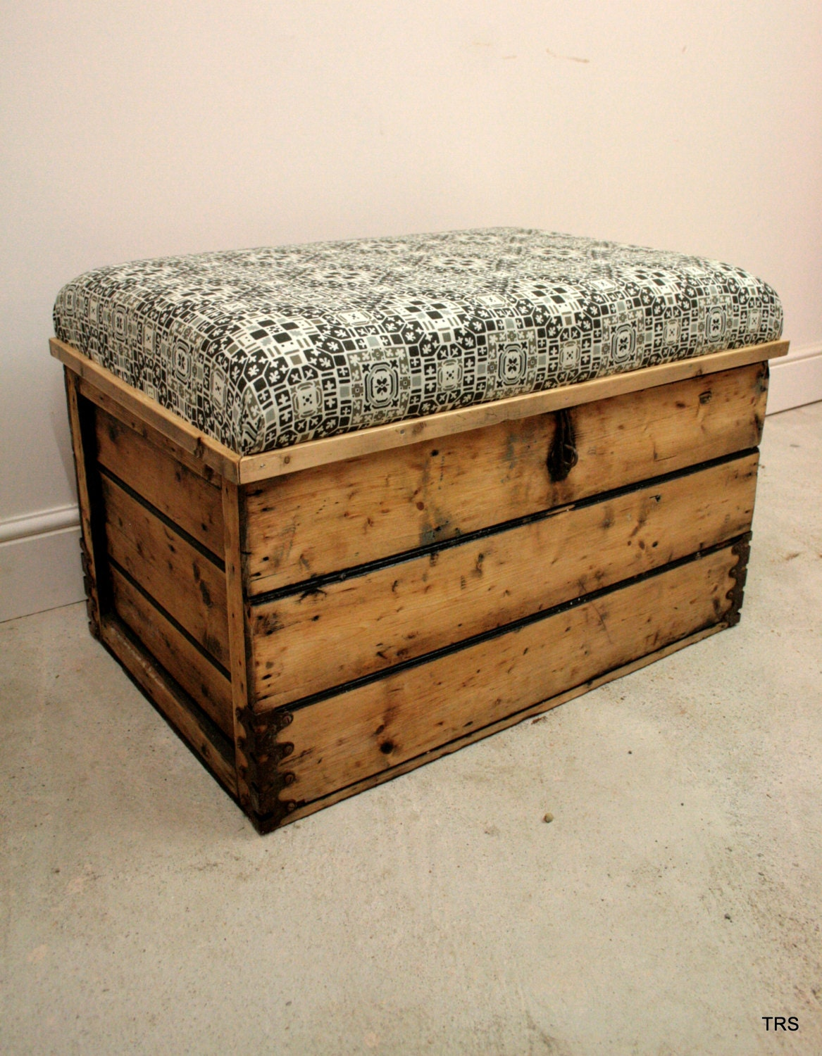 Antique Pine Chest Chair with Scandinavian upholstery  Nordic Design  Toy Box