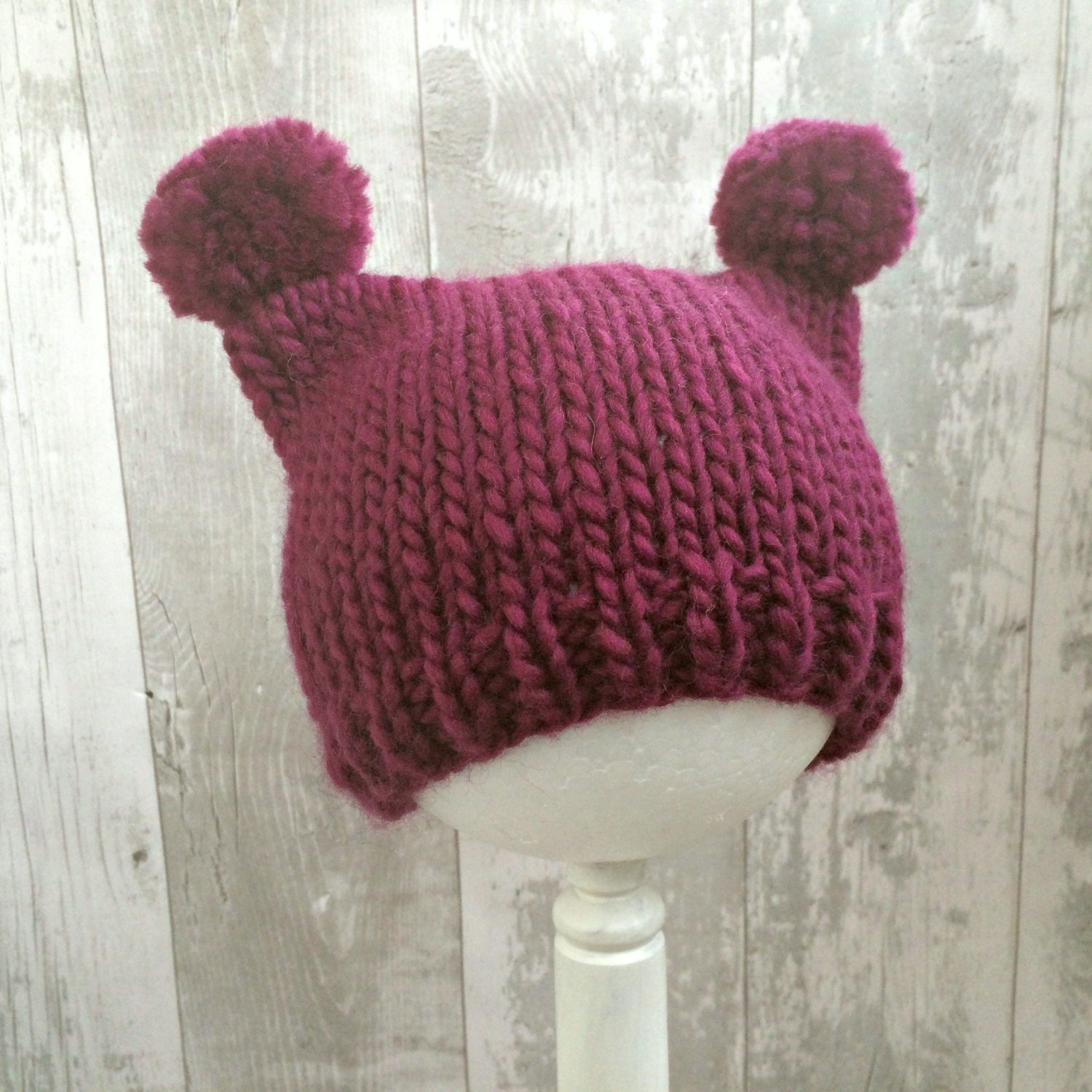 Pink Animal Ear Baby Hat Baby Pom Pom Hat  Kids Animal Hats with Ears Hand Knit Baby Hat Newborn Beanie Girl New Baby Girl Gift