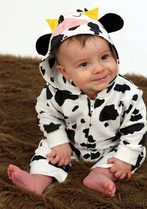 Cow Baby Costume Baby Romper Outfit for Boys or Girls Cute Cow Print Hooded Suit New Baby Shower Gift Halloween Baby Costume