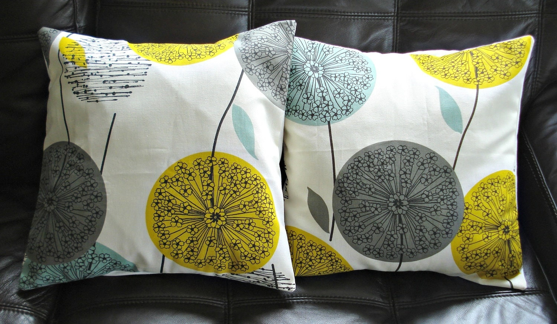 decorative pillows dandelion mustard yellow grey gray by veedubz. Black Bedroom Furniture Sets. Home Design Ideas