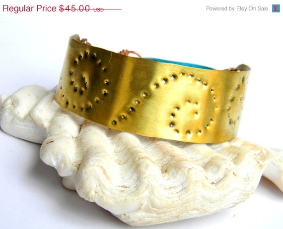 SALE Spiral Engraved Brass and Turquoise Leather Cuff Bracelet (B774)