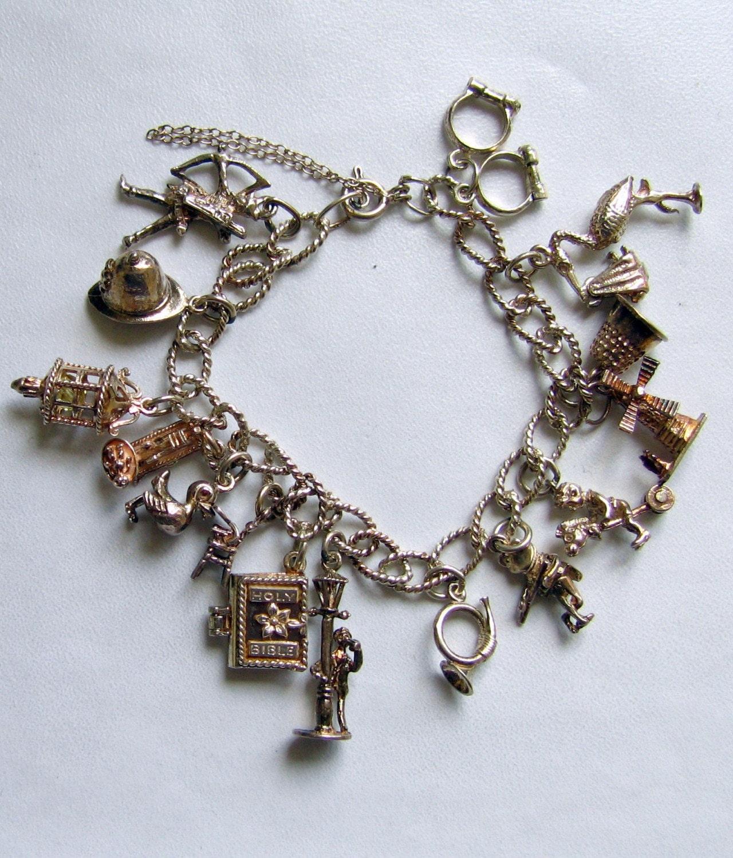 vintage sterling silver charm bracelet by mybooms