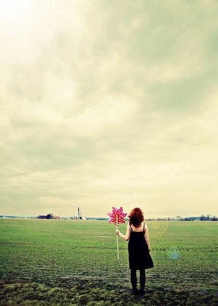 Coming Out Of Hibernation - 5x7 Fine Art Photography Print - girl pinwheel field farm rural green red dreamy portrait photograph - riotjane