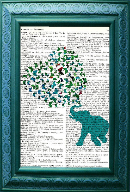 Vintage French to English Dictionary Page Original Art Elephant Loves Butterflies Aqua
