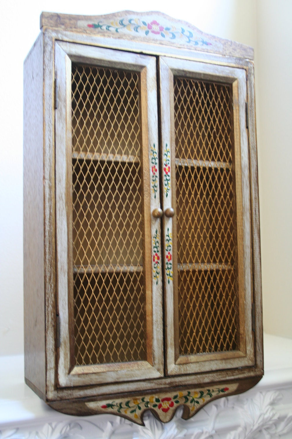 Handpainted Curio Wall Cabinet Chicken Wire Doors By Vintiqued
