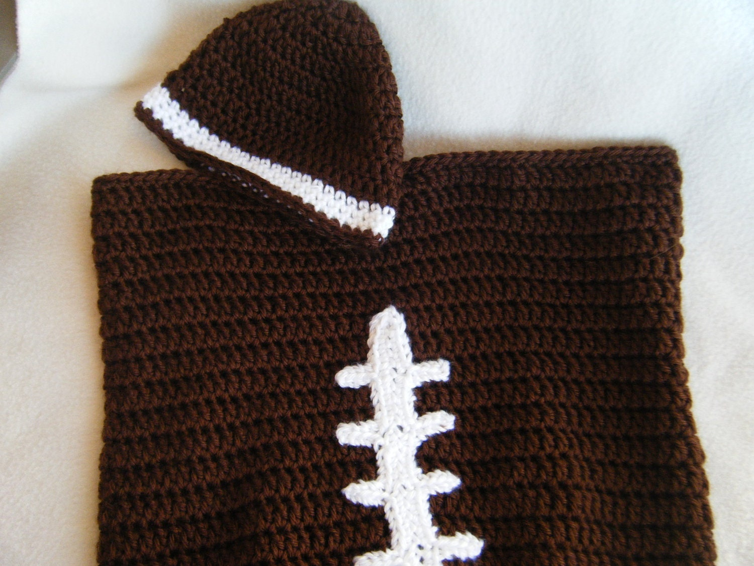 Crochet Pattern For Football Blanket : Crocheted Baby Football Cocoon/Blanket by KraftyGrannysHome