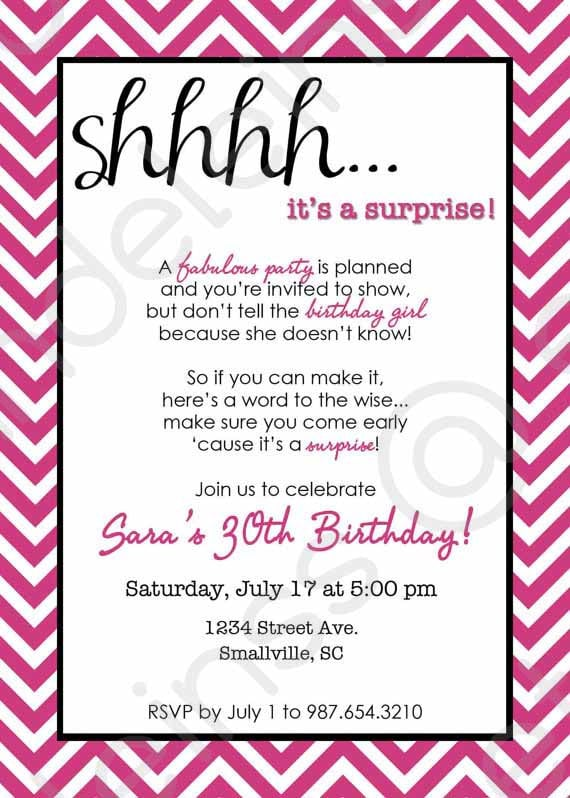 Surprise Party Invites and get inspiration to create nice invitation ideas