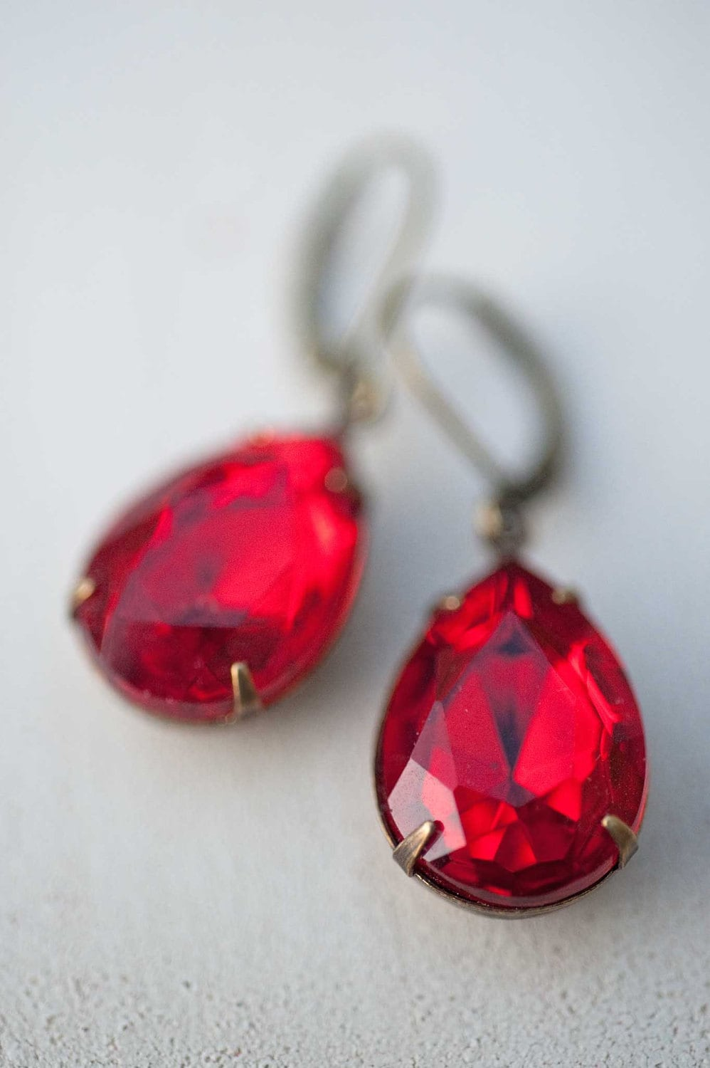 Red Earrings, Vintage Earrings, Estate Style Ruby Red Vintage Glass Pear Shaped Earrings - Scarlet