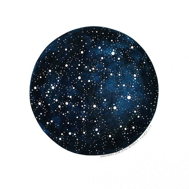 Imaginary Star Chart Number 6 - Original Watercolour Art - 10x12 Painting - Circle Constellations Night Sky - by Natasha Newton - theblackbirdsings