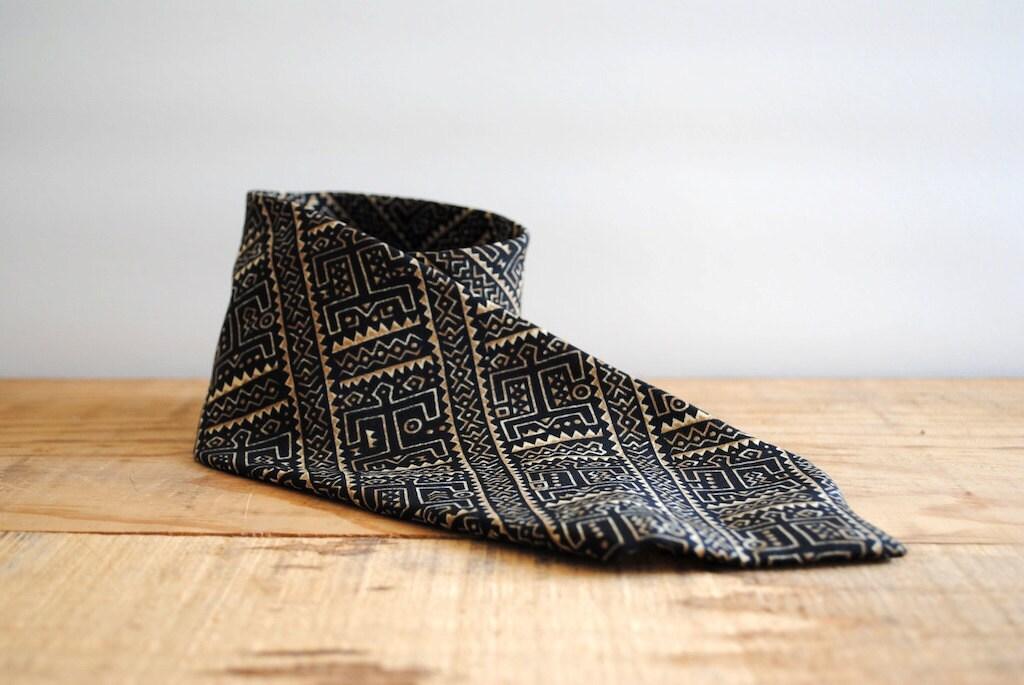 Vintage Necktie by Dot's Los Angeles 1980's - Vintage Tie Batik Print - labiblioteca