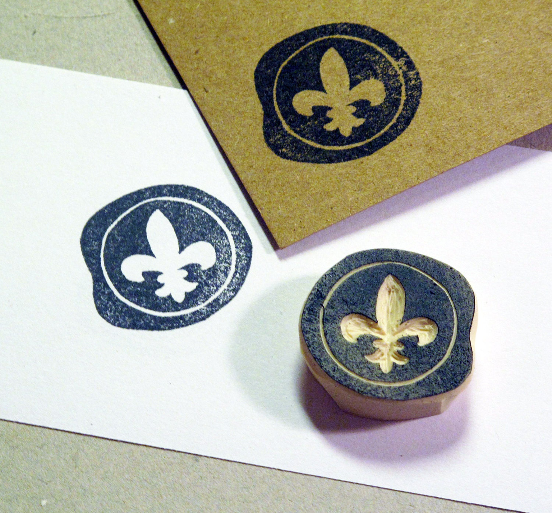 Fleur de Lis Wax Seal Rubber Stamp