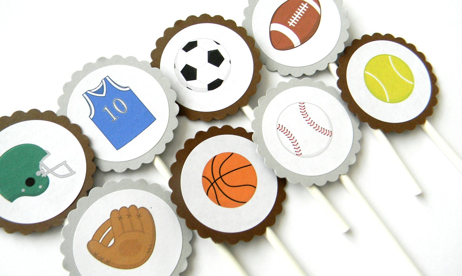 12 Sports Cupcake Toppers