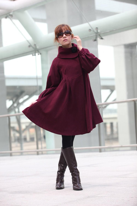دوست داشتنی زرشکی قرمز بزرگ جارو بلند آستین لباسی زمستان های پشمی و ابریشمی برای زنان -- NC200