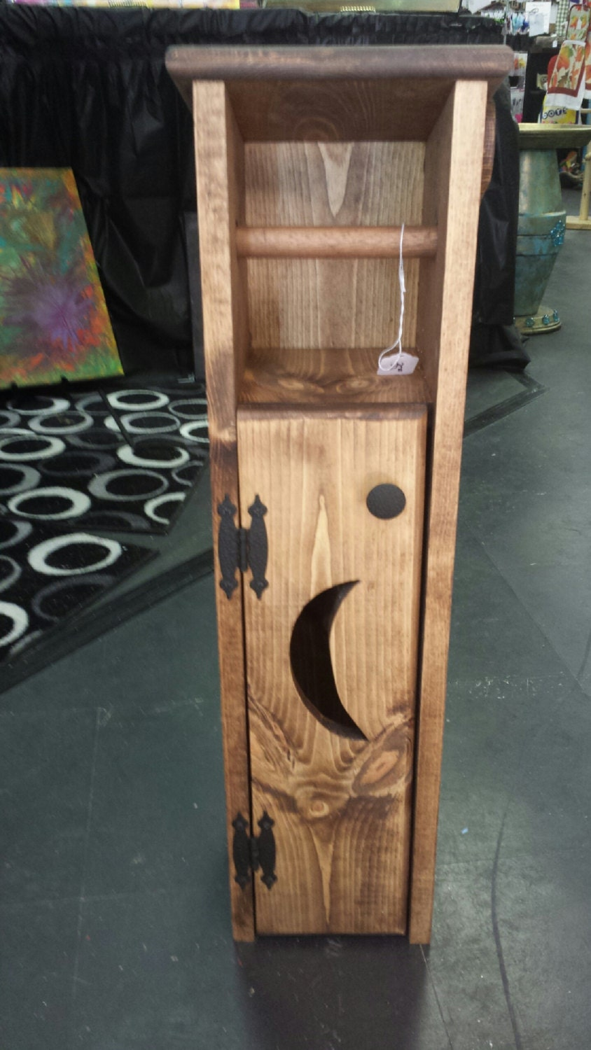 Toilet paper holder outhouse with moon or by Wood toilet paper holders