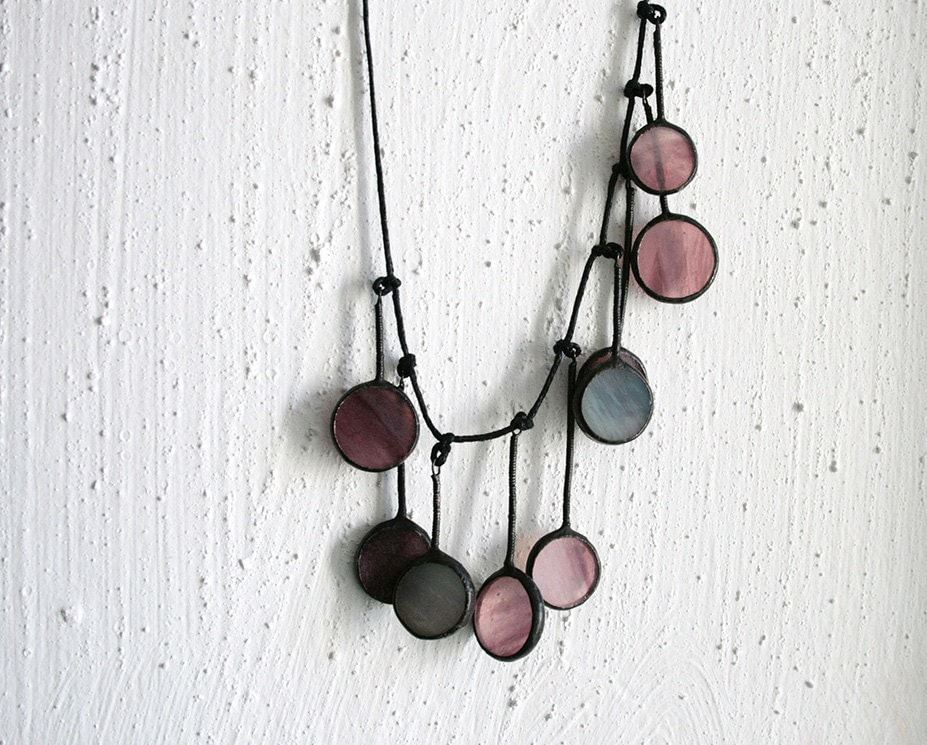 Soft purple circle necklace - stained glass and patinated cooper - unique jewelry - ArtKvarta