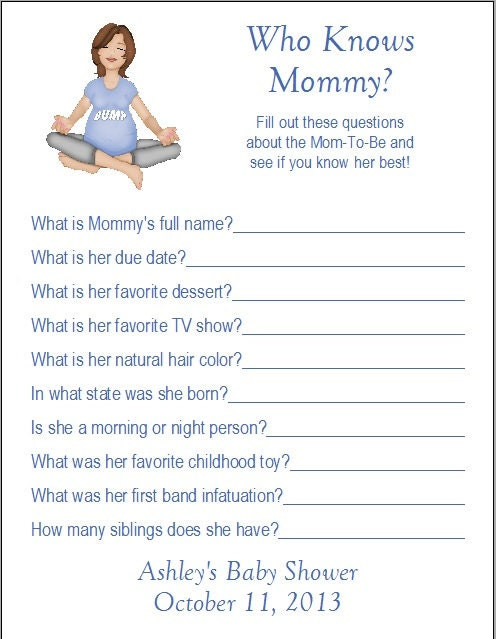 24 Personalized Who Knows Mommy Baby Shower Game By Print4u