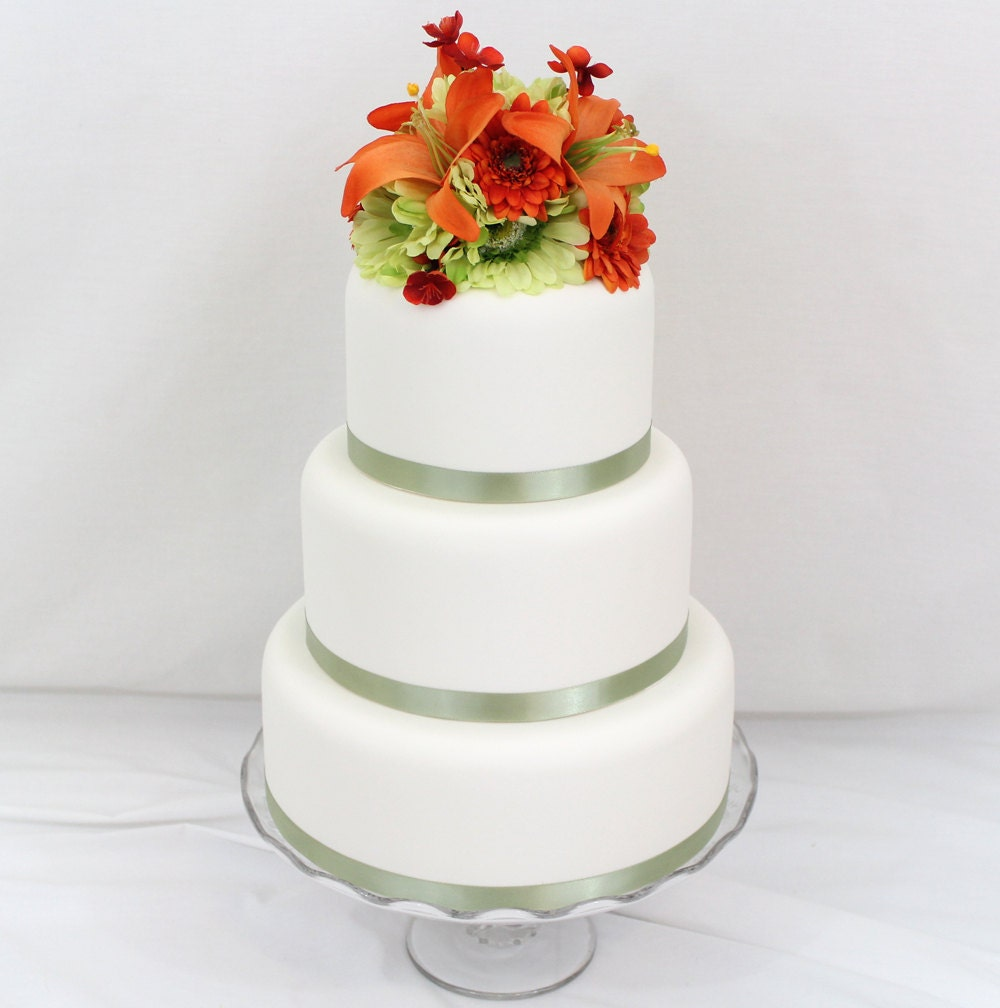 Wedding Cake With Artificial Flowers Topper Orange Lily Green Gerbera By Ittopsthecake