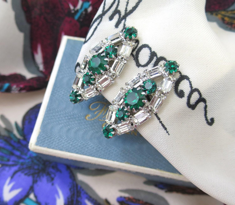 1950s Vintage White Rhinestone Earrings  Marquiseshaped Art Deco Design Emerald Green Earrings