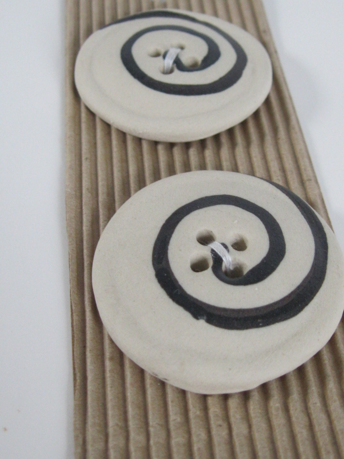 Hand Made Buttons from Africa - Black and Cream - 2 Buttons - FabricFascination
