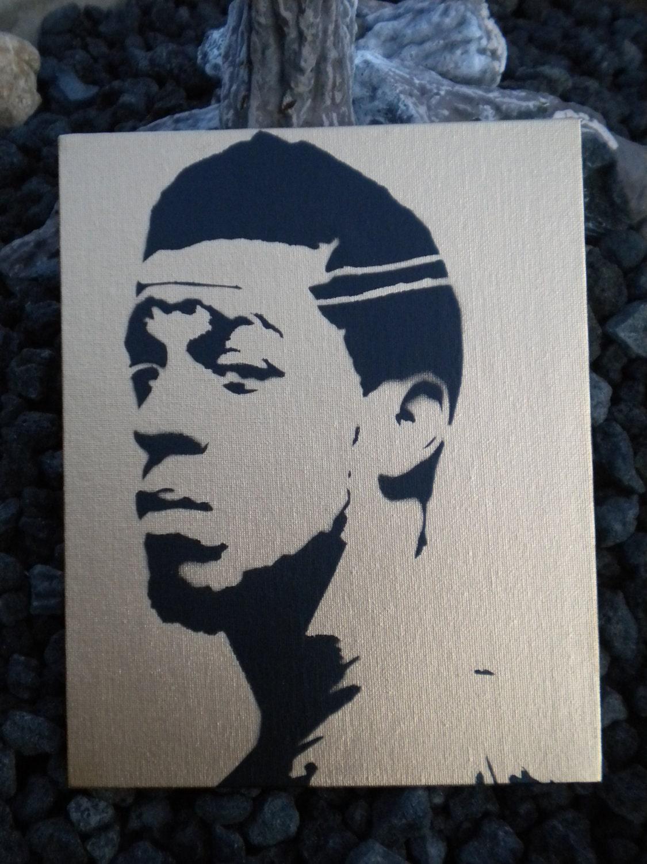 Kid Cudi graffiti stencil art sprayed on canvas by mynameisjz