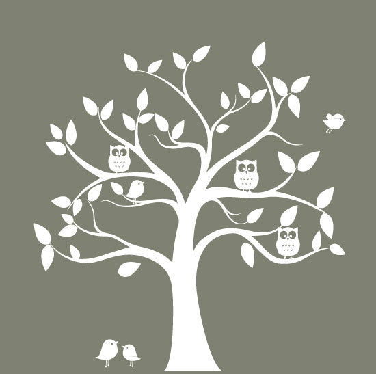 Tree wall decal with birds