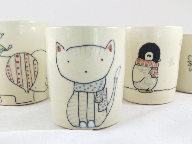 Cat in Scarf Juice Cup - Handmade Ceramic Cup