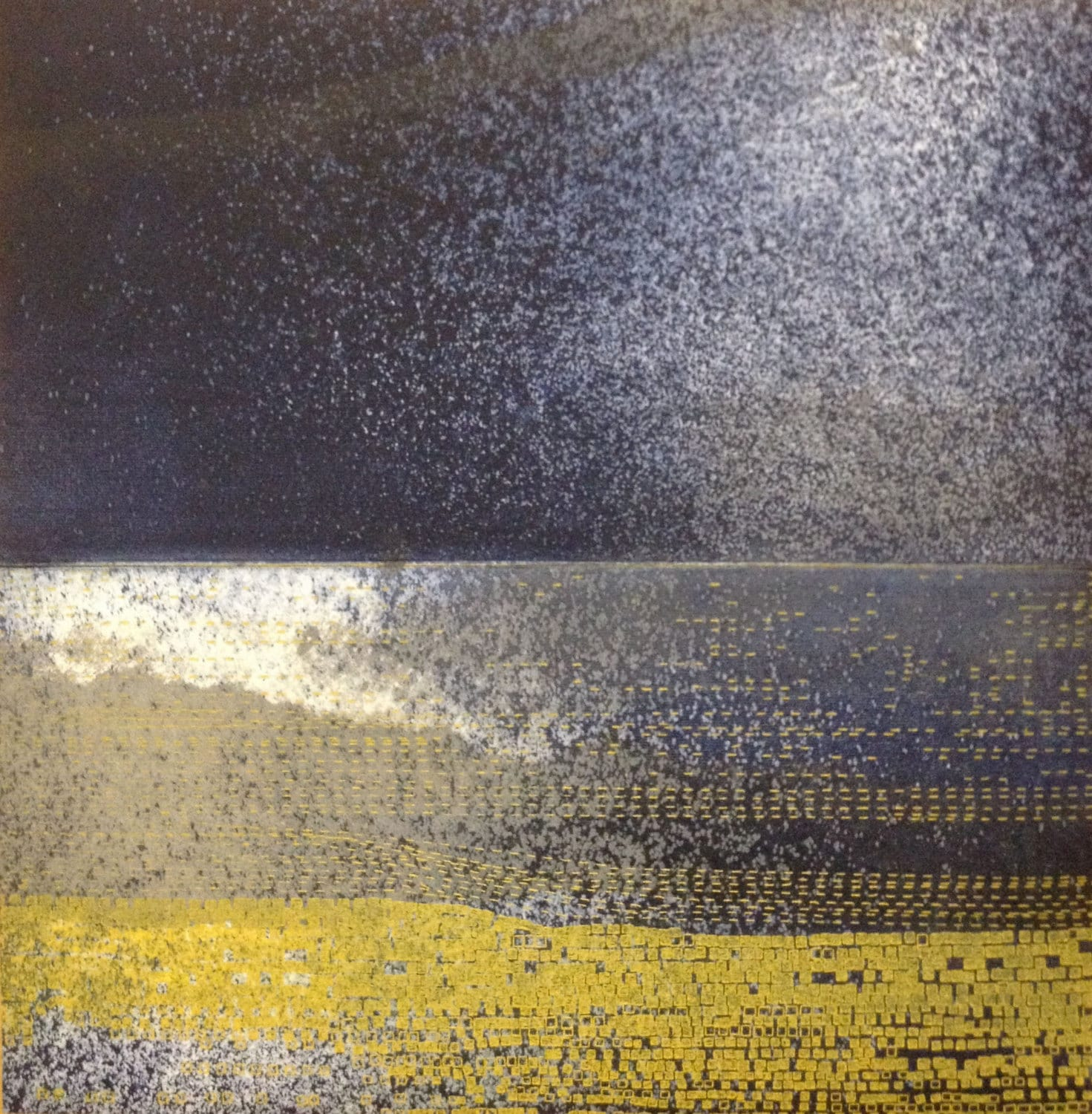 "Etching Print . Navy Blue and Yellow Home Decor: Striation 101 . Print Size 9 1/2"" x 9 1/2"" - ElviaPerrin"