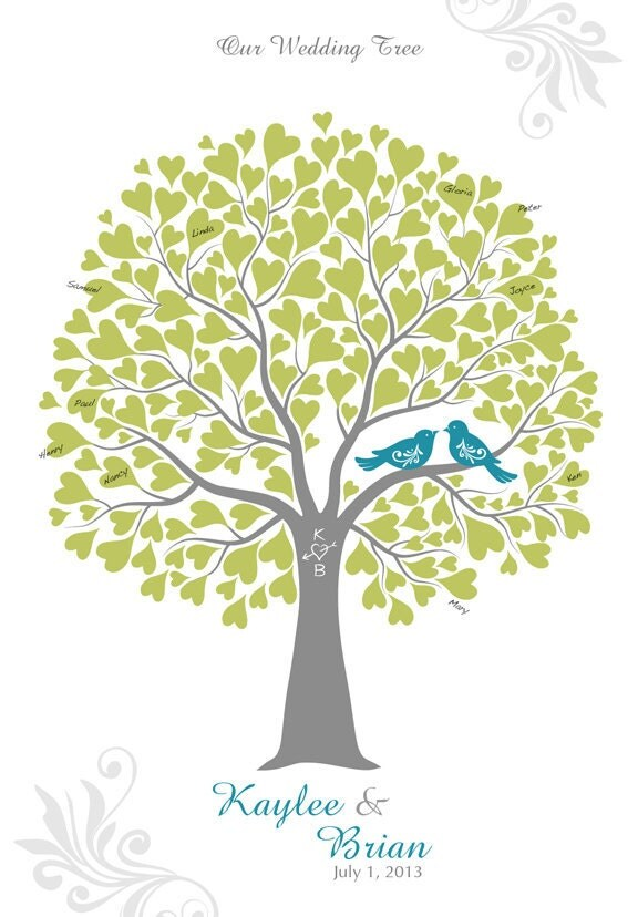 items similar to wedding tree with love birds guest book