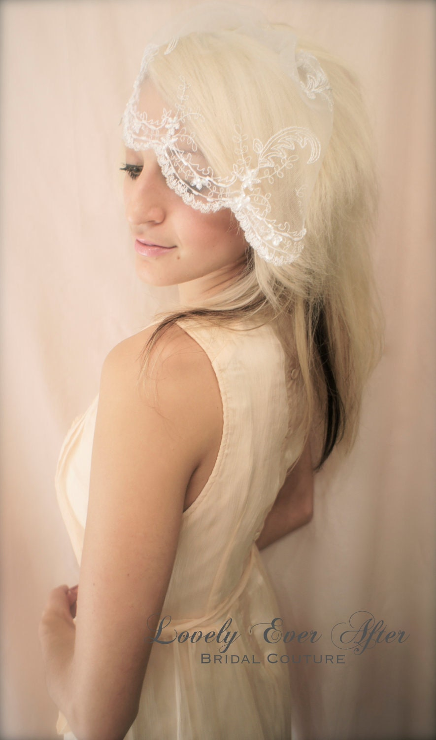 Wedding Day Bridal Scalloped Rhinestone Beaded Birdcage Veil