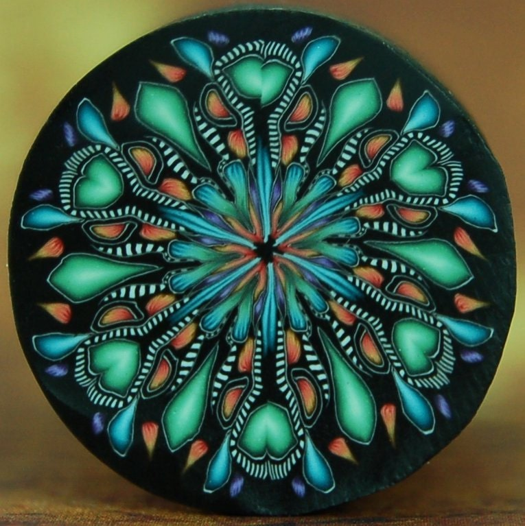 CLEARANCE SALE- Blue, Green, and Orange Circle Kaleidoscope Polymer Clay Cane - ikandiclay