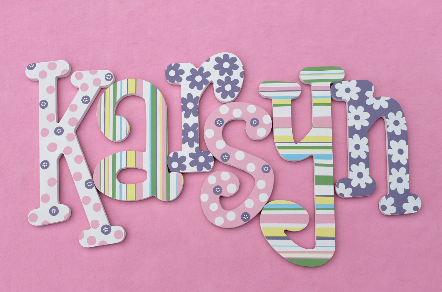 Wooden wall letters whimsical name art kid 39 s room by alphabeticals - Decorative wooden letters for walls ...