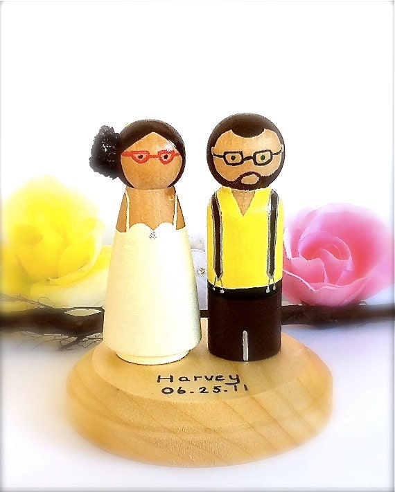 HIPSTER WEDDING Cake Topper Geek Chic By CreativeButterflyXOX