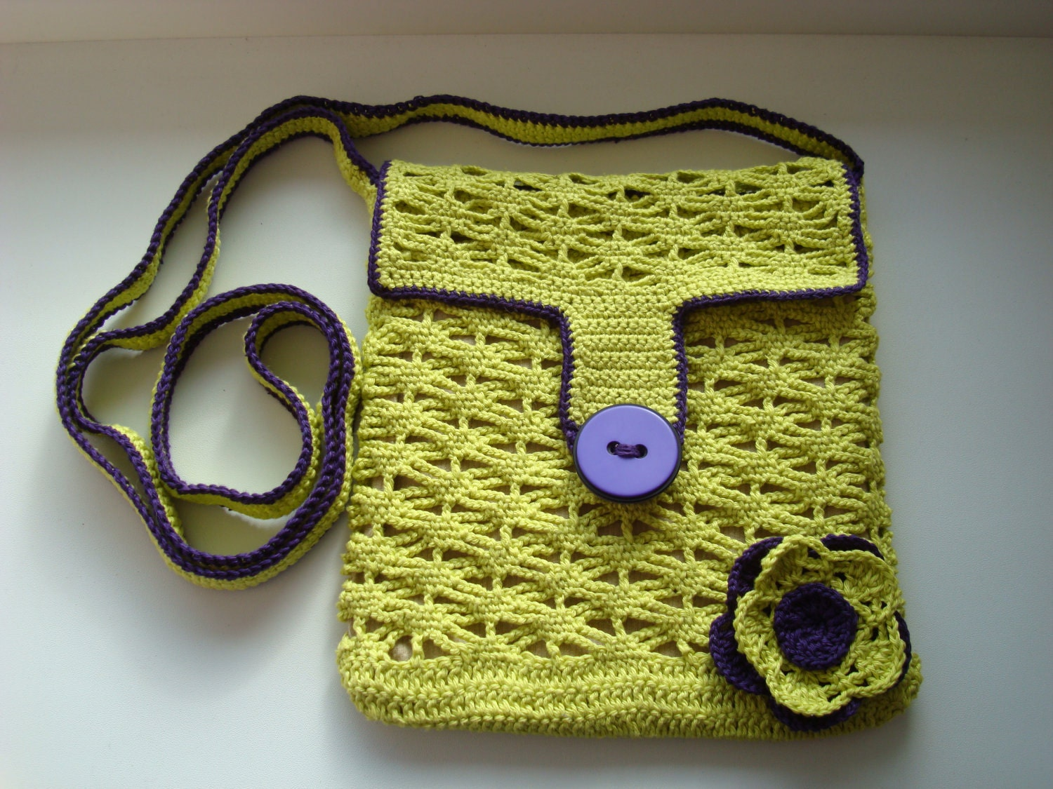 Crochet Small Bag : Crochet BAG purse Shoulder Messenger small // Lime green crochet PURSE ...