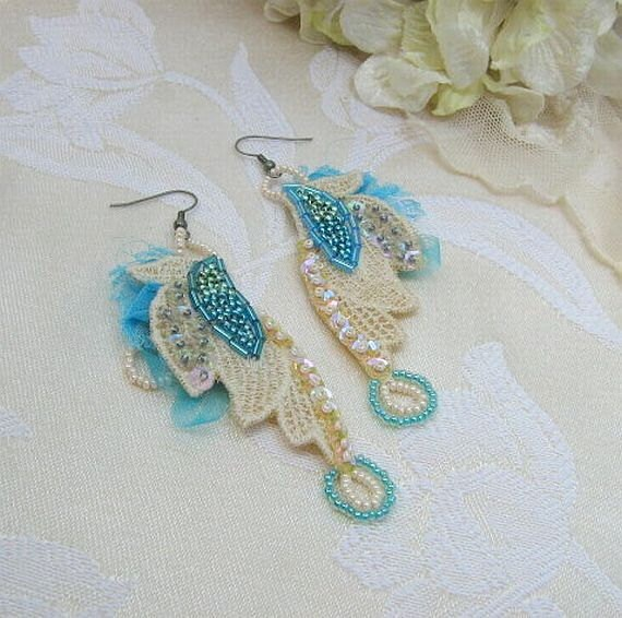 Vintage Lace Beaded Earrings, Peacock Wings