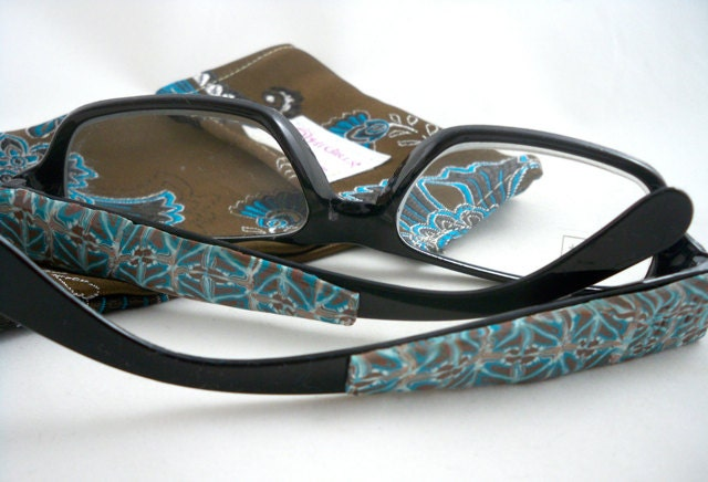 Embellished reading glasses blue and brown patterned polymer clay with case 2x power - HiGirls
