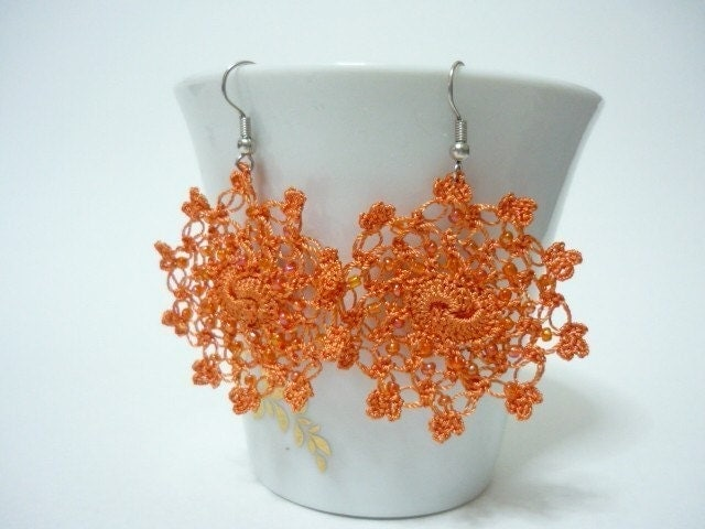 Little Moons - Crocheted Earrings in orange