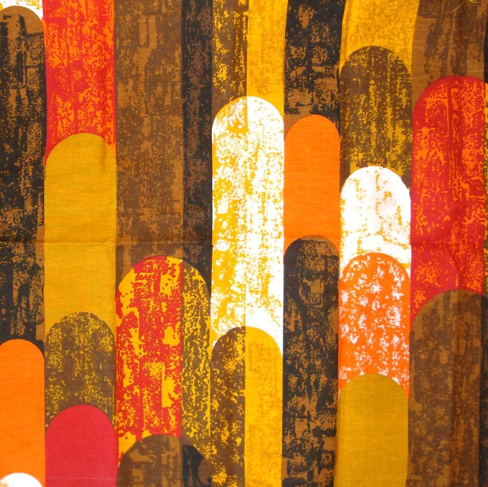 Vintage fabric modern home decor print orange by selvedgeshop for Modern home decor fabric prints