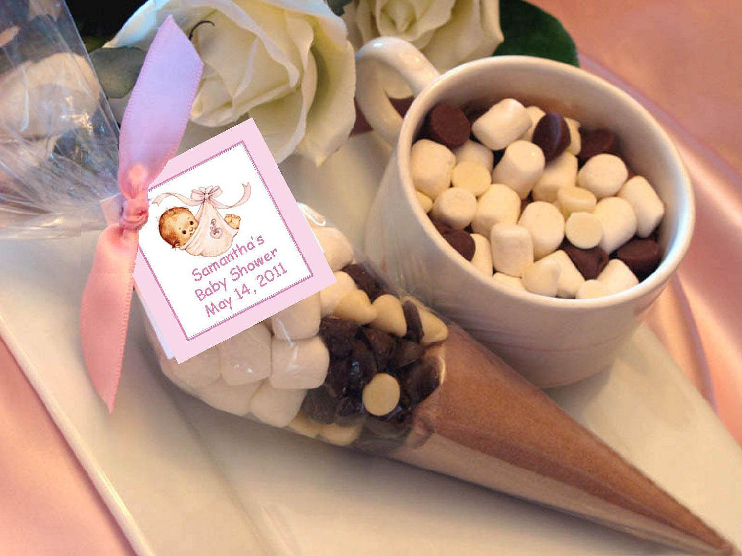 Baby Shower Favors Chocolate ~ Personalized baby shower hot cocoa chocolate cone by