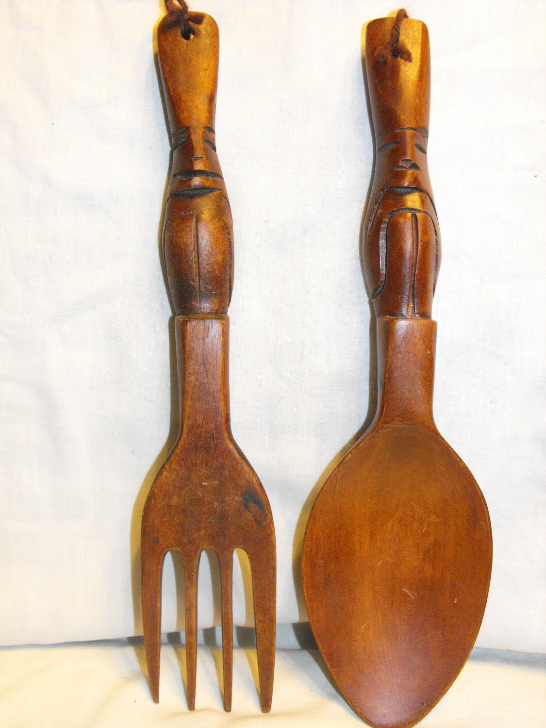 Wall Decor Wooden Fork And Spoon : Vintage wooden fork spoon wall decor by amysacresantiques