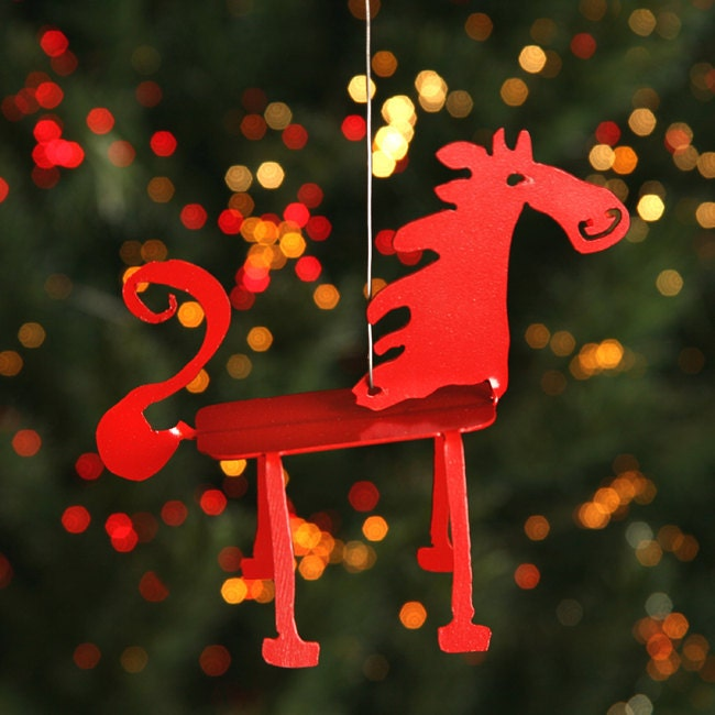 Christmas Tree Ornaments Horse: Whimsy Horse Red Christmas Tree Ornament By