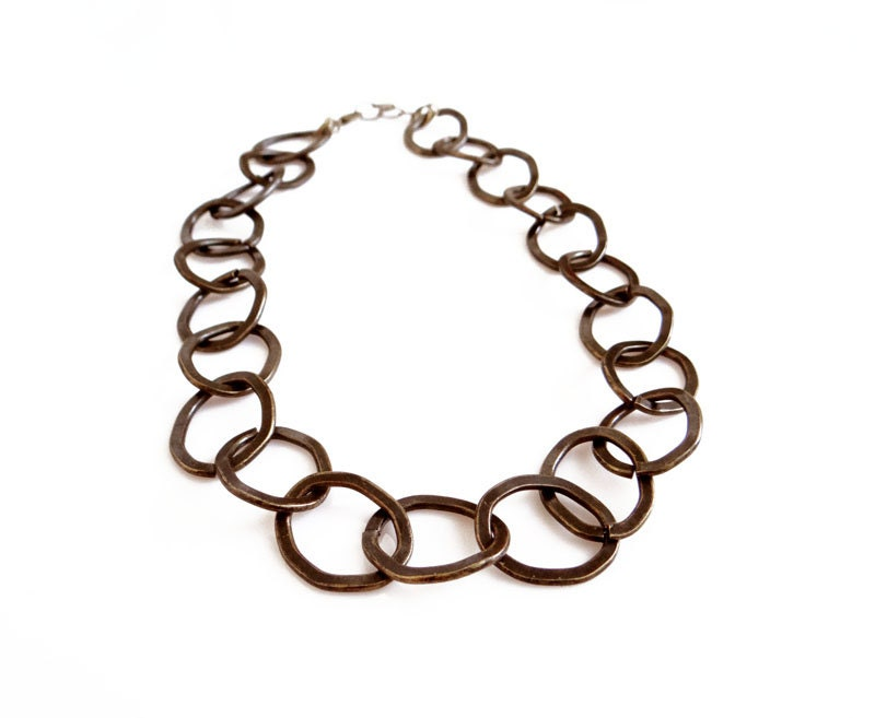 Chunky Chain Neckalce,Big Chain Necklace, Dark Brass Necklace - AlinaandT