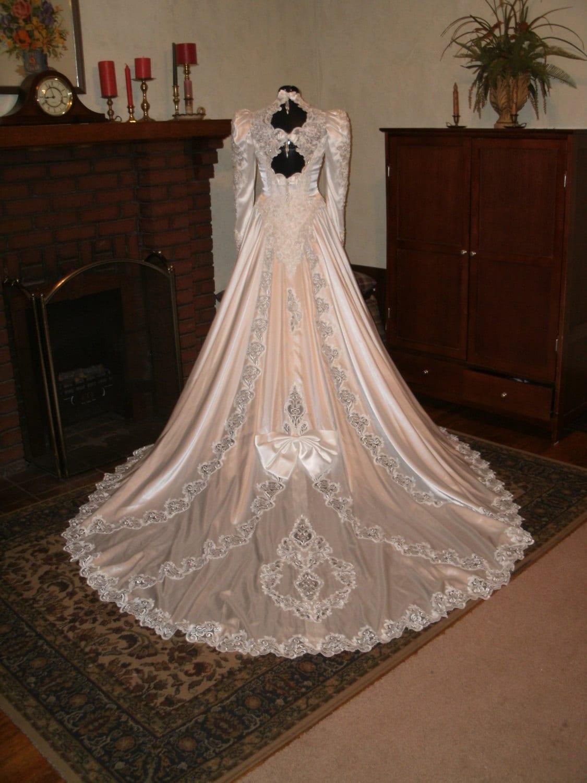 Pearl white slipper satin edwardian inspired 1980 by myckkia for Slipper satin wedding dress
