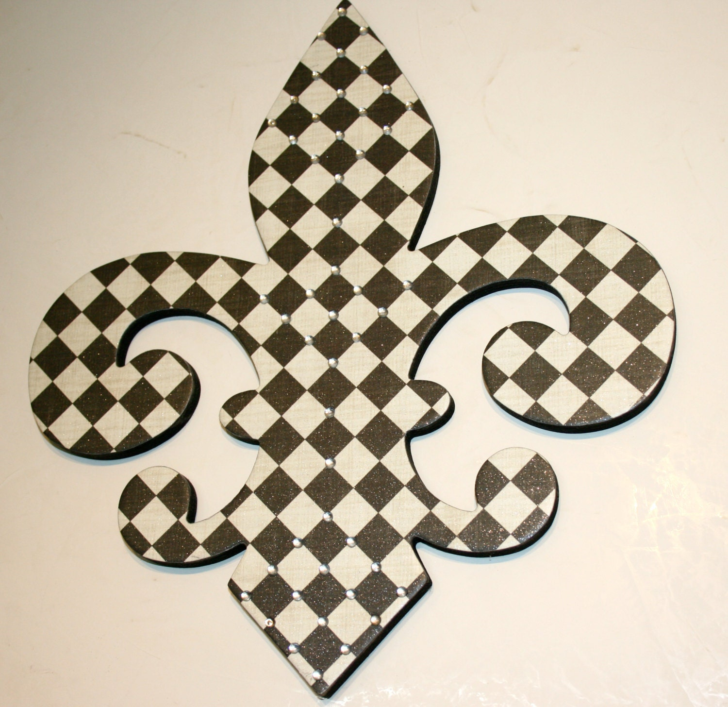 Wall Decor With Rhinestone : Bling decor fleur de lis wall black by