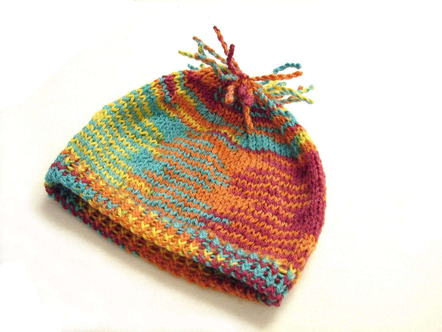 Autumn colors beanie with fringes striped hat newborn to 1 year - TinyOrchids