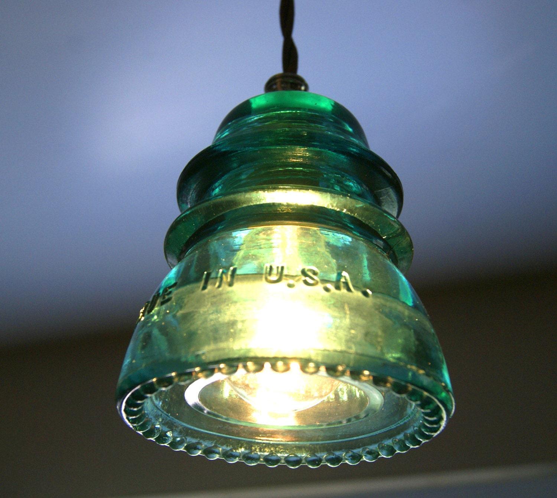 Antique Glass Insulator Blue Green Petticoat Hc Brookfield